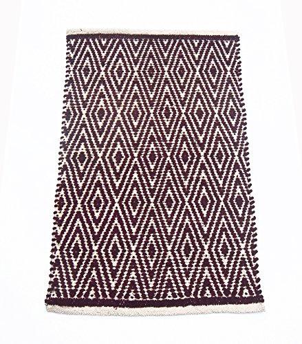 Chardin home - Alfombra 100% algodón Completamente Reversible - Tapete 50.80 cm x 76.20 cm, Lavable a máquina, Burgundy...