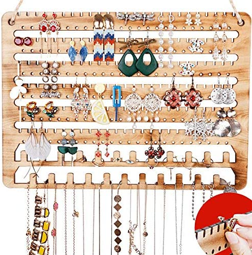 Wooden Jewelry Organizer Wall Mounted, Hanging Jewelry Organizer Earring Organizer Necklace Holder Bracelet Holder Over the Door, Jewelry Holder for Earrings, Necklaces & Rings