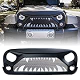 Xprite Front Matte Black Gladiator Vader Grill Grid Grille for Jeep Wrangler JK JKU 2007-2018 Rubicon Sahara Sport (Monster Teeth Steel Mesh)