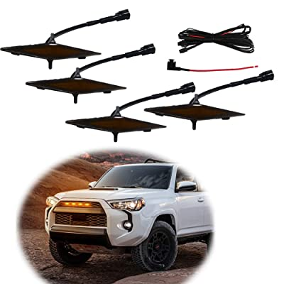GTINTHEBOX 4 Pcs Led Grille Amber Light for 2014-2020 Toyota 4Runner TRD Pro Grille SR5 TRD off-road Limited TRO Pro - Smoked Shell: Automotive