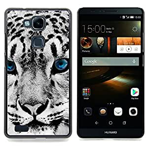 "Qstar Arte & diseño plástico duro Fundas Cover Cubre Hard Case Cover para HUAWEI Ascend MATE 7 (Snow Leopard invierno Big Cat Blue Eyes White"")"