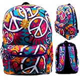 17'' Wholesale Padded Peace Print Backpack
