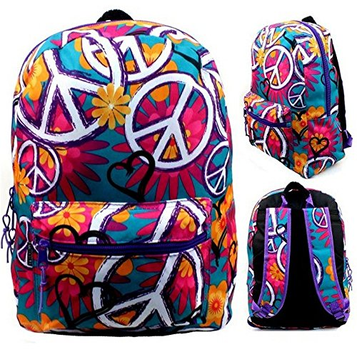 17'' Wholesale Padded Peace Print Backpack by Arctic Star