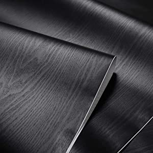 Thick Black Wood Grain Adhesive Furniture Stickers PVC Wallpaper cabinets Wardrobe Shelf Liners Paper,15in X 79in