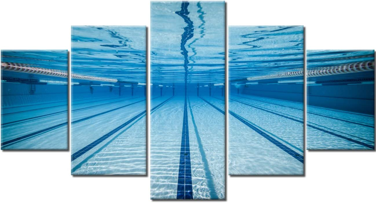 Wall Pictures for Living Room Swimming Pool Paintings Sport Swim Wall Art 5 Panel Prints on Canvas Premium Quality Artwork Contemporary House Decor Giclee Wooden Framed Ready to Hang(60''Wx32''H)