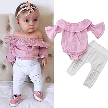 25055536df8c Amazon.com   Kid Toddler Infant Baby Girl Striped Tops Romper Ripped ...