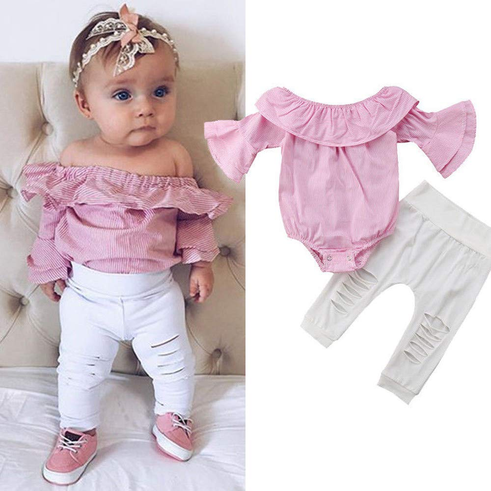 OSYARD Girls Clothing Sets Toddler Infant Fashion Autumnal Striped Flare Ruffle Long Sleeve Tops Romper Ripped Pants Party Cotton Clothes Outfits