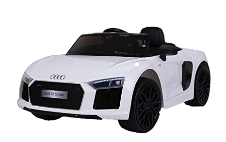 dbfdec0cadb2a Image Unavailable. Image not available for. Colour  GetBest Audi R8 Spyder  Double Motor 12V Battery Operated Ride on Car (White)
