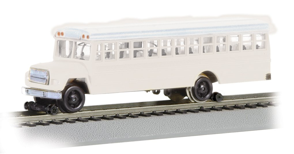 Bachmann High Railer - Maintenance of Way Vehicle - BUS with HIGH RAILERS - WHITE (HO Scale) by Bachmann Trains
