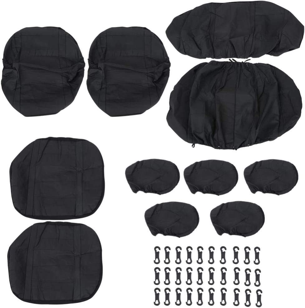 Terisass 11 Pcs Auto Seat Cover Set Universal PU Leather Front Rear Auto Breathable and Washable Seat Cover Protector Set Black