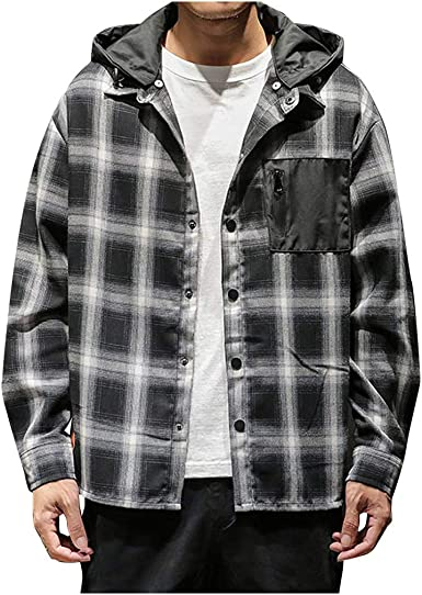 SoonerQuicker Sudadera Hombres Capucha Moda Casual para Sweater de impresión a Cuadros con Capucha Suelta extraíble Camisa de Manga Larga Top(Negro XXXXXL): Amazon.es: Ropa y accesorios