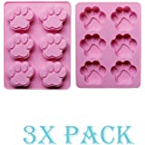 SET OF 3 PACK X Silicone DOG Pet Animal Paw Print Ice Cube Chocolate Soap Candle Tray Mold Party maker (Ships From USA)