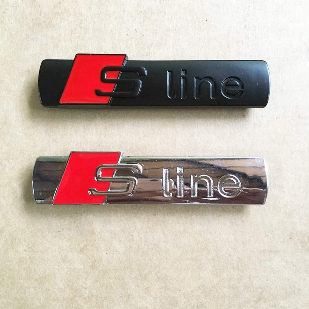 SILVER 2PACK Sline Alloy Emblem Badge,Sline Car Rear Trunk Fender Side Emblem logo Sticker for A1 A3 A4 A5 Q3 Q5 Q7 S3 S4 S5 S6 S7 S8