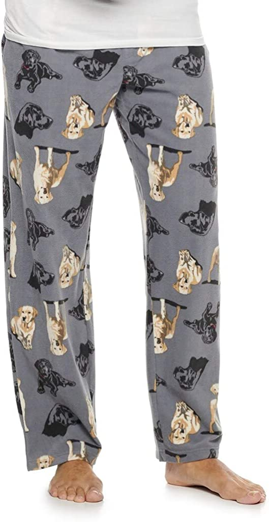 Croft & Barrow Men's Black & Yellow Lab Labrador Retriever Print Brushed Fleece Sleep Bottoms Lounge Pajama Pants