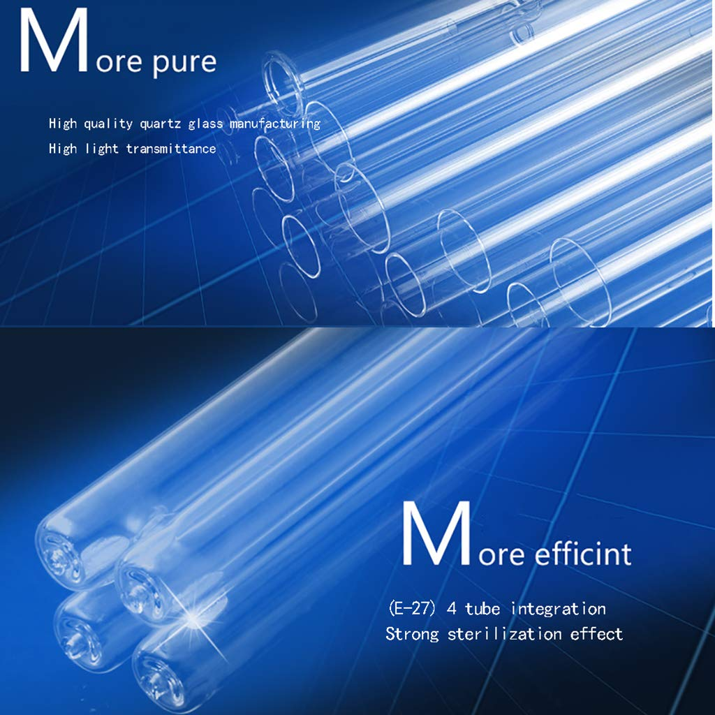 Bombillas UV E27 L/áMpara De Desinfecci/óN De Luz L/áMpara De Esterilizaci/óN con Cuatro Tubos De Cuarzo Tasa Antibacteriana 100/% Desinfectante De Led UV-C Port/áTil Sin Base De L/áMpara para El Hogar Ba/ñ