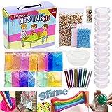 ESSENSON Slime Kit Slime Supplies Make Your Own Clear Crystal Slime Floam Slime Glitter Slime, Slime Making Kit for Girls Boys Kids, Includes Clear Crystal Slime, Slime Containers, Foam Balls