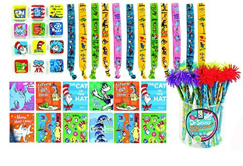 Deluxe Dr Seuss notebooks eraser pencil rainbow writer and bookmark party favor bundle 48 pc pack