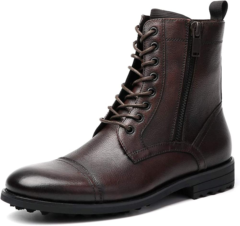 Amazon.com   Cestfini Non-silp Leather Combat Boots for Men - Casual  Motorcycle Boots with 2 Side Zipper, Lace Up Cap Toe Boots   Motorcycle &  Combat