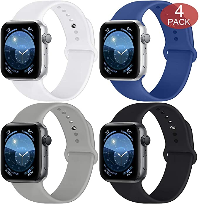 SWHAS Smartwatch Bands Compatible with Apple Watch Band 40mm 38mm 44mm 42mm, Soft Silicone Sport Band Replacement Wristband for iWatch Series ...
