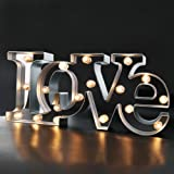 "BRIGHT ZEAL Wedding Decorations LED Marquee Sign LOVE (15.5"" x 7"" x 2"" big sign, Mirror, 6hr Timer) - LED Light up LOVE Letters and Illuminated Wedding Signs - Gift For Home Decor 30541"
