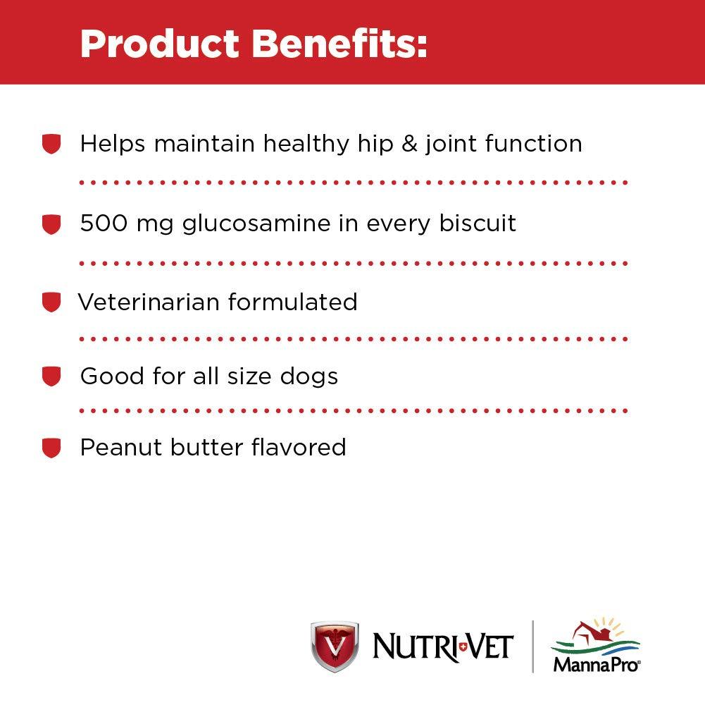 Nutri-Vet Hip & Joint Biscuits for Dogs, Peanut Butter Flavor (6 lb) by Nutri-Vet