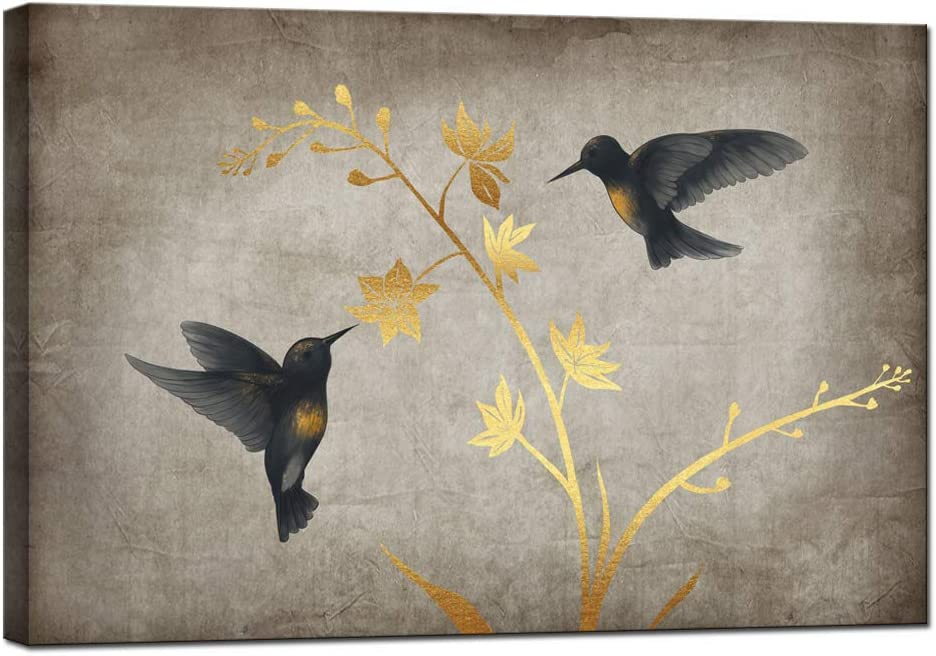 sechars Vintage Painting Art Prints Black and Gold Hummingbird with Flower Canvas Wall Art Birds Poster Picture with Frame Retro Home Living Room Bedroom Wall Decor Ready to Hang