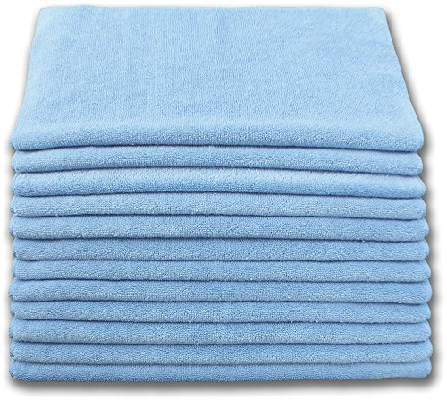 Heavy Duty Microfiber Terry Cloth 16x16 400gsm - Blue Case of 180 by Direct Mop Sales, Inc.