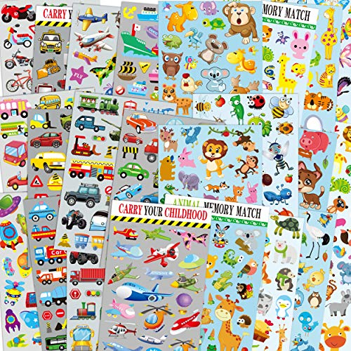 Car & Animal sticker packs for kids, 24 sheets no repeat pattern including Cars, Airplane, Train, Police Car, Fire Trucks, Insect, birds, Butterfly, wild beast, scrapbooking stickers for Teacher, Pare