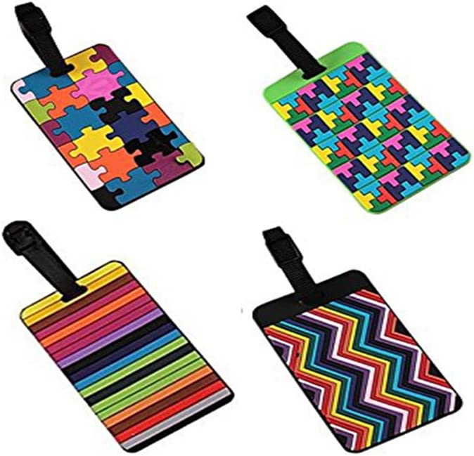Vikenner 4 Piezas de Etiquetas de Equipaje de PVC Maletas de Viaje Portatarjetas de identificación Comercial - 4 Colores