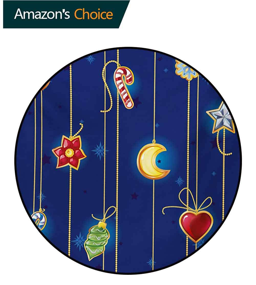 RUGSMAT Christmas Modern Machine Washable Round Bath Mat,Cute Celebratory Object On Stripes Star Moon Candy Flower Xmas Theme Illustration Non-Slip Soft Floor Mat Home Decor,Round-31 Inch