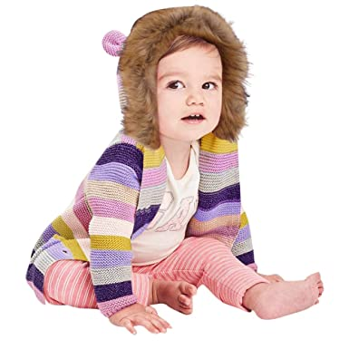 H.eternal 🐰 Baby Girls Boys Cardigan Warm Outwear Knitwear Striped Long  Sleeve Hooded Knitted be9b14ba7