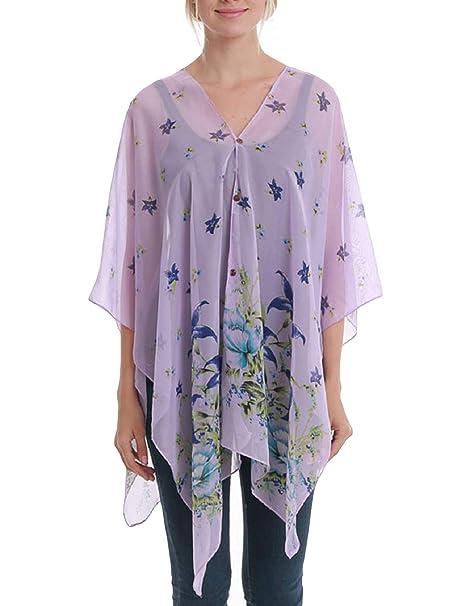 Bsubseach Women Purple Floral Print Chiffon Beach Wrap Shawl ...