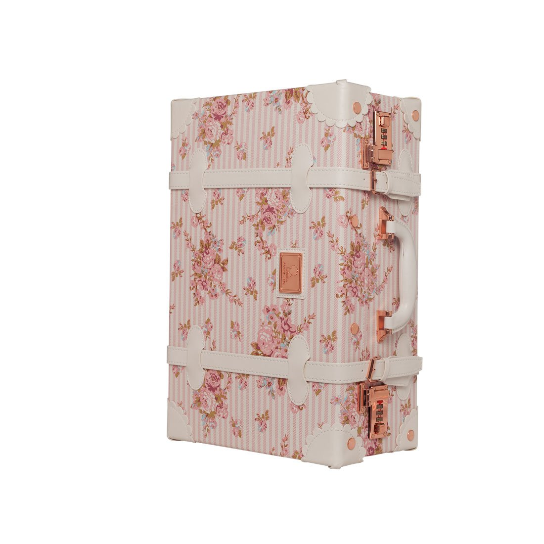 UNIWALKER 16'' 18'' Women Floral Carry On Suitcase Hand Luggage (18'', Pink)