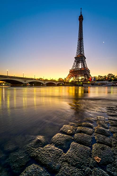 Majesty Eiffel Tower And Seine River Paris France Photo Photograph Cool Wall Decor Art Print Poster 24x36 Posters Prints