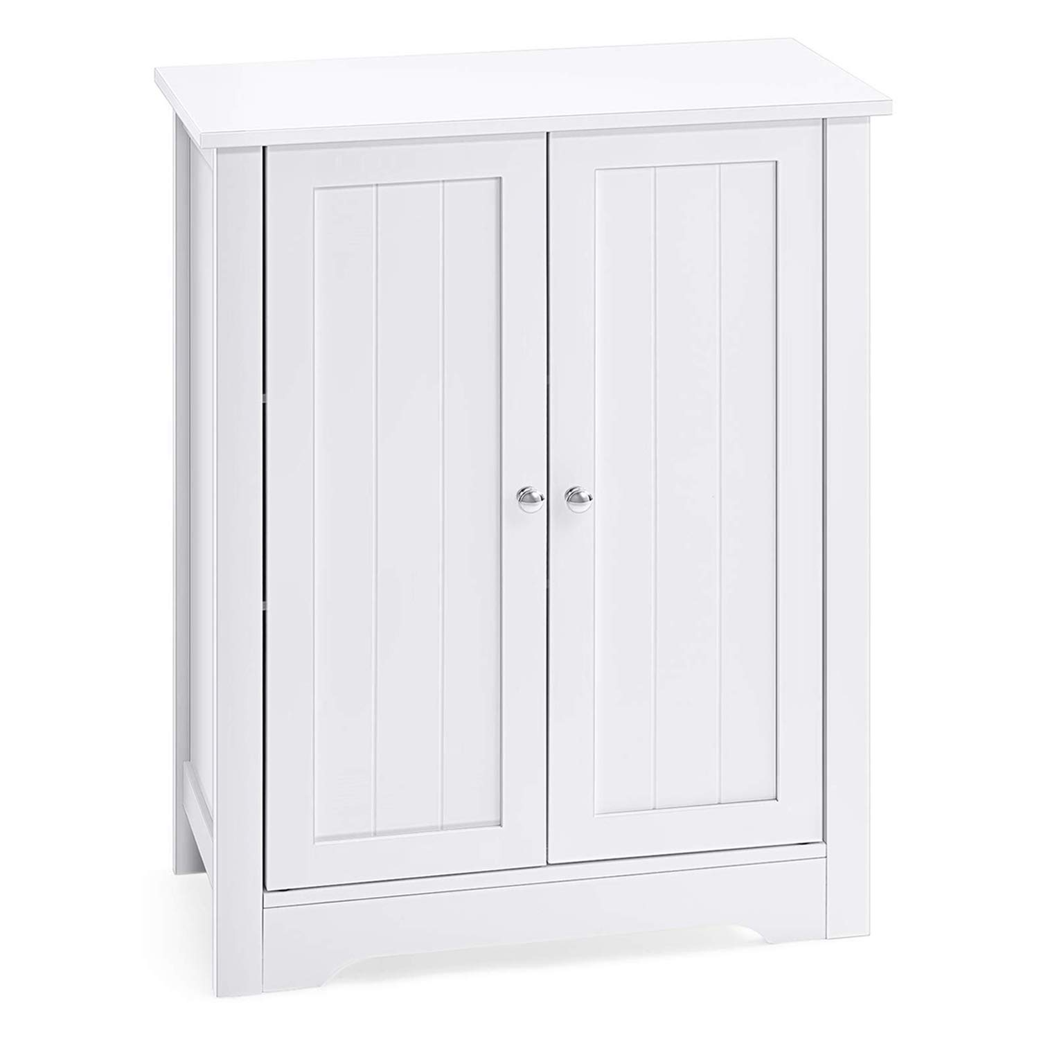 AOOU Bathroom Floor Storage Cabinet Durable Bathroom Cabinet with Double Door Adjustable Shelf, Side Cabinet 23.6 x 11.8 x 31.5 Inches White by AOOU