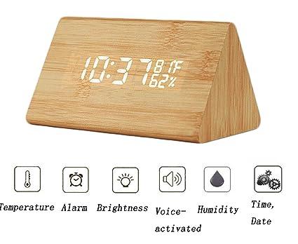 Reloj de Alarma LED de Madera Controlado por Sonido LED ...