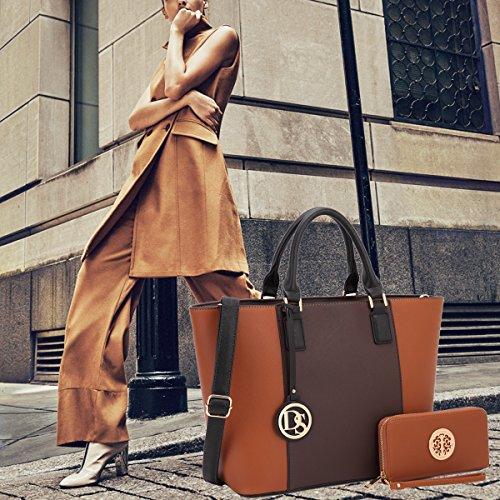 Dasein Women's Designer Large Laptop Top Handle Structured Tote Bag Satchel Handbag Shoulder Bag Purse (6417 Coffee/Brown)