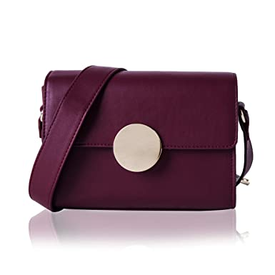 f9ea9ea2aaf Amazon.com: The Lovely Tote Co. Women's Circular Buckle Crossbody Bag  Shoulder Bag Purse,One,Dark Red: Clothing