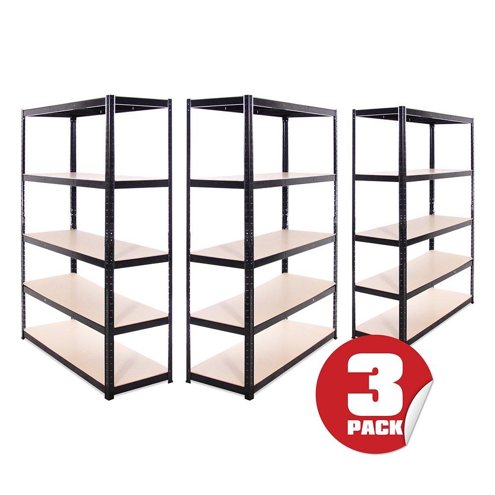 3 Bay Steel 180cm x 90cm 5 Tier Garage Shed Storage Shelving Units Workbench