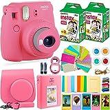 DEALS NUMBER ONE 40 fim Fujifilm Instax Mini 9 Camera + Fuji Instax Film (40 Sheets) + Accessories Bundle - Carrying Case, Color Filters, Photo Album, Stickers, Selfie Lens + More, Flamingo Pink