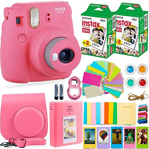 Fujifilm Instax Mini 9 Camera + Fuji Instax Film (40 Sheets) + Accessories Bundle - Carrying Case, Color Filters, Photo Album, Stickers, Selfie Lens + More (Flamingo Pink)