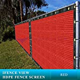 Ifenceview 4'x5' to 4'x50' Red Shade Cloth/Fence Privacy Screen Fabric Mesh Net Construction Site, Yard, Driveway, Garden, Railing, Canopy, Awning 160 GSM UV Protection (4'x5')