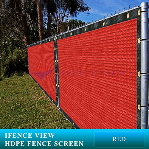 (Ifenceview 6'x3' to 6'x50' Red Shade Cloth/Fence Privacy Screen Fabric Mesh Net for Construction Site, Yard, Driveway, Garden, Railing, Canopy, Awning 160 GSM UV Protection (6' x 50'))
