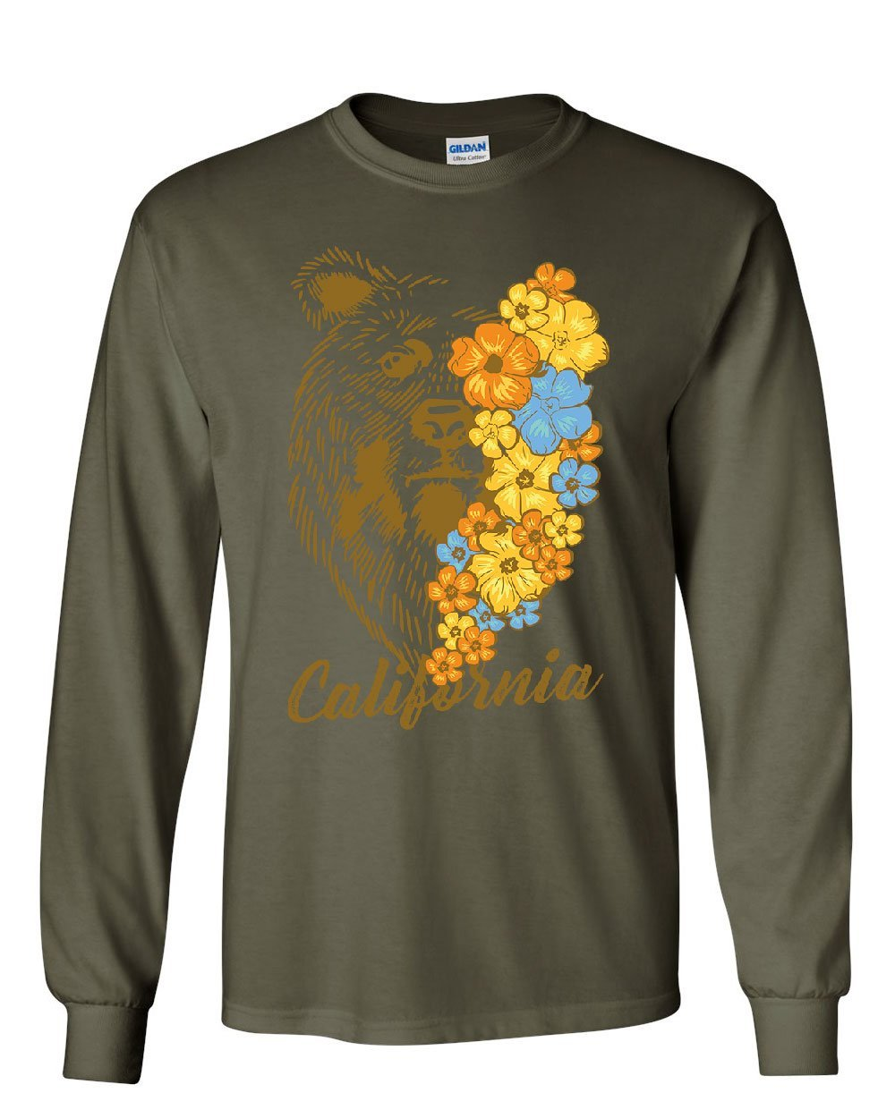California Bear With Flowers Wildlife Grizzly Cali Ca 5077 Shirts
