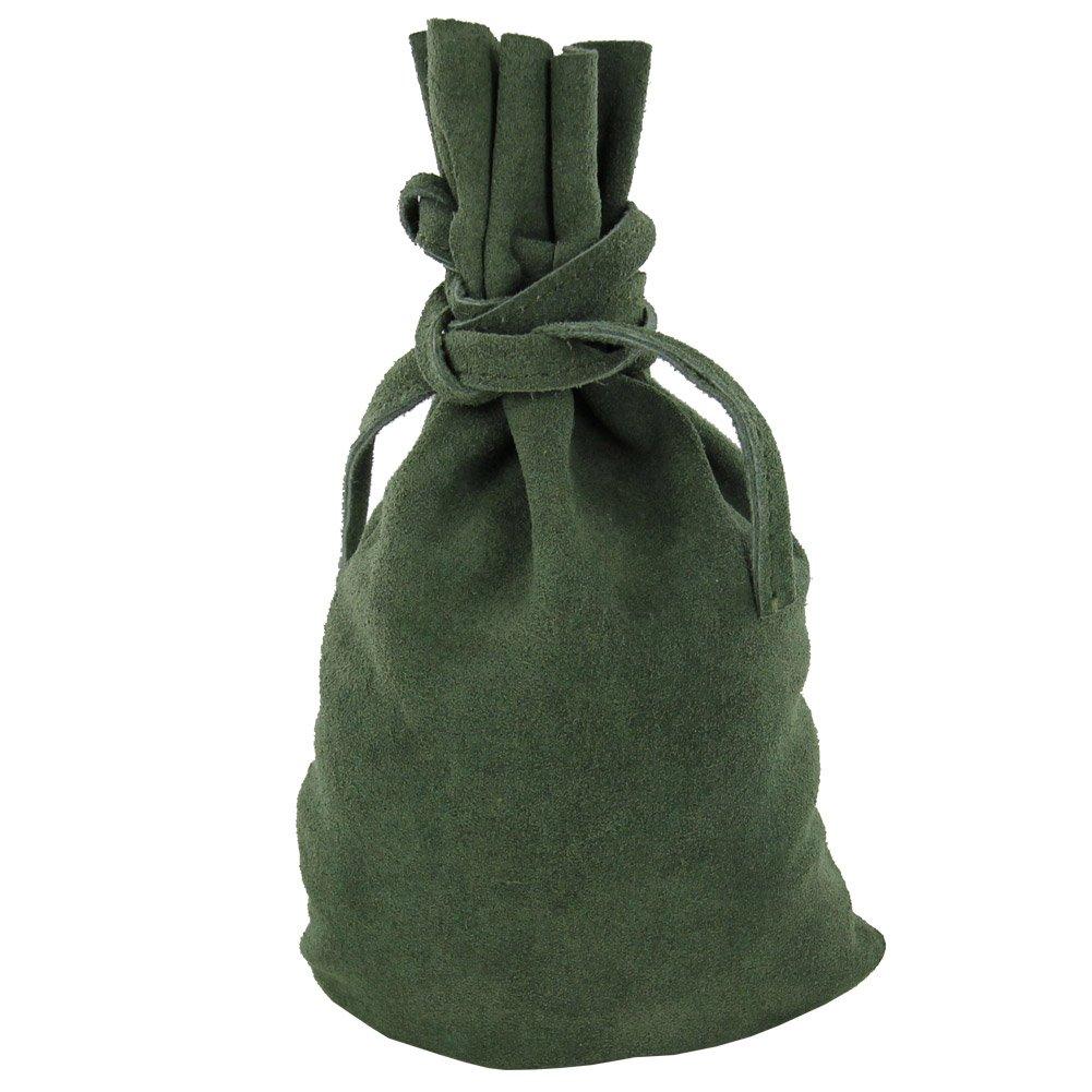 Renaissance Master Artisan Green Suede Drawstring Bag