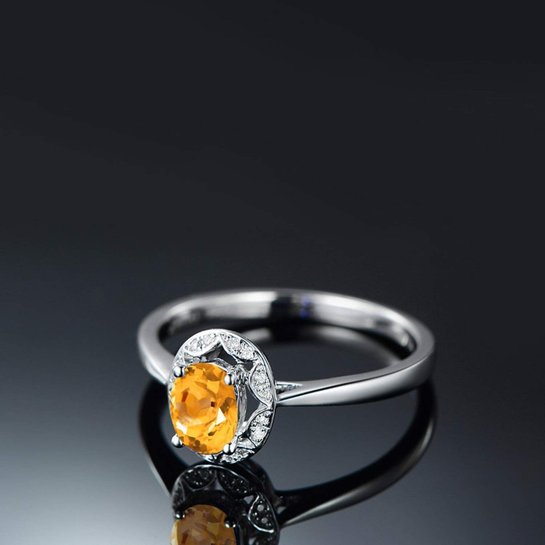 Gnzoe Jewelry-Women S925 Sterling Silver Ringanniversary Rings Yellow Created-Citrine November Birthstone