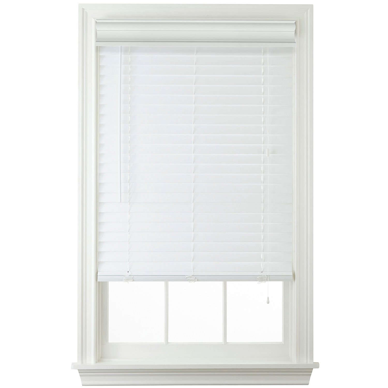 Window Blind Outlet 2'' Faux Wood Horizontal Blinds - White (36x64)