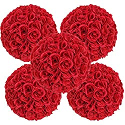 FCH 10 Pack Artificial Rose Satin Pomander Flower Kissing Balls Bouquet for Home Garden Party Wedding Decoration (Deep Red)