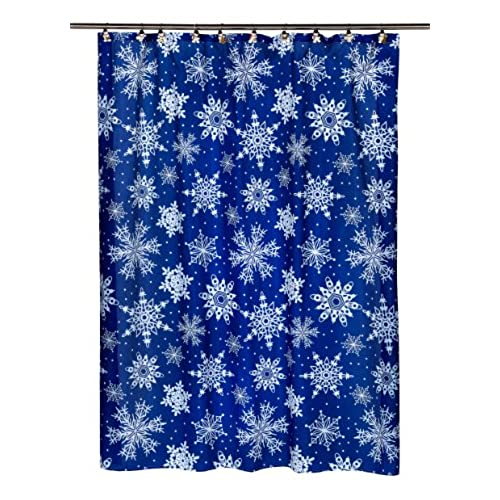 Beautiful Carnation Home Fashions Snow Flakes Fabric Shower Curtain