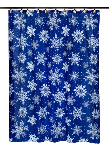 Carnation Home Fashions Snow Flakes Fabric Shower